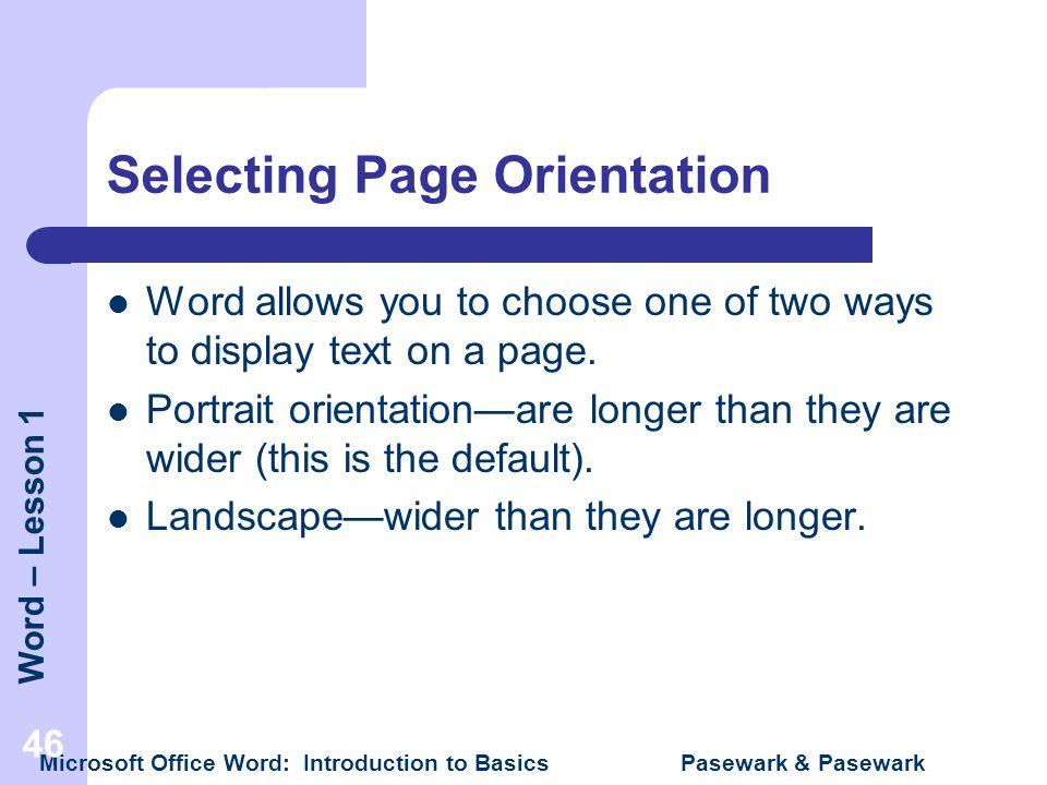Selecting Page Orientation