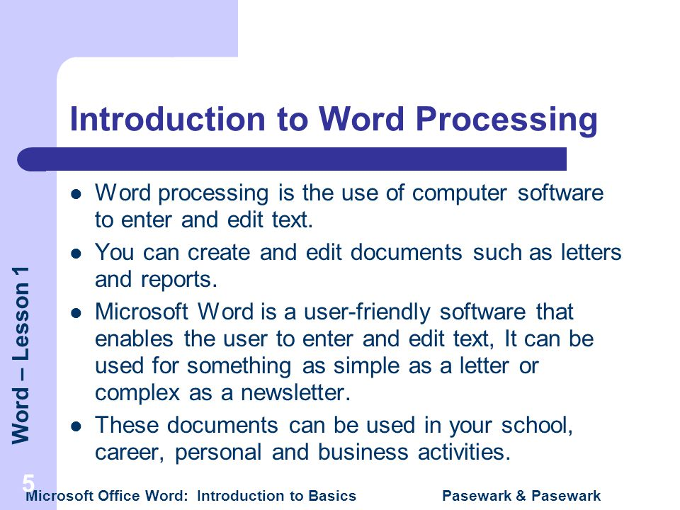 INTRODUCTION Lesson 1 – Microsoft Word Word Basics - ppt video ...