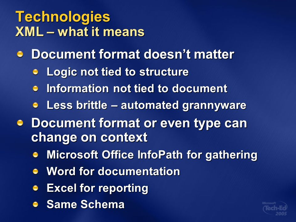 Technologies XML – what it means
