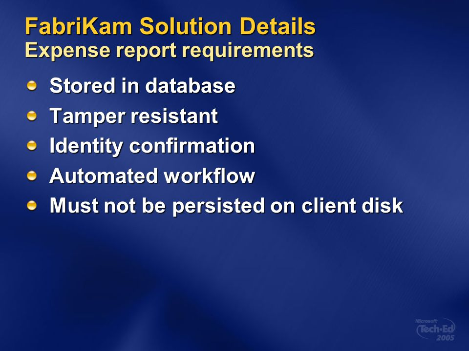 FabriKam Solution Details Expense report requirements
