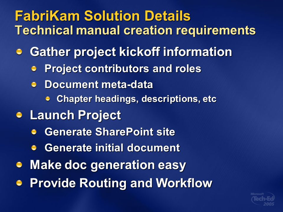 FabriKam Solution Details Technical manual creation requirements