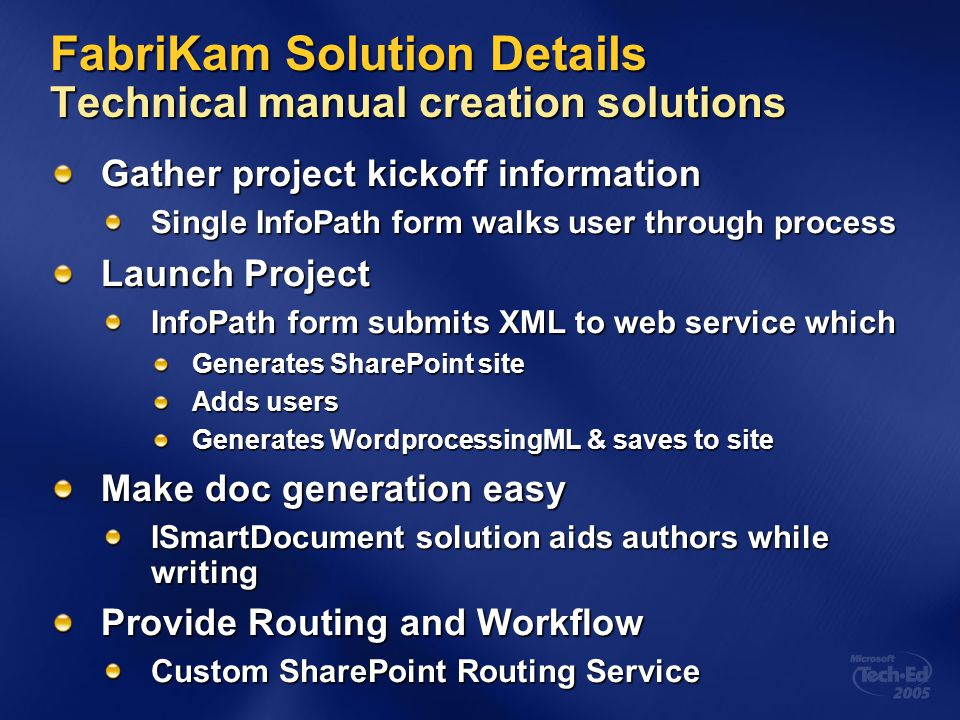 FabriKam Solution Details Technical manual creation solutions