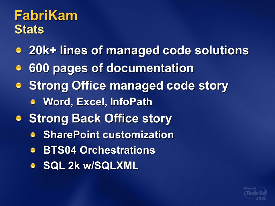 FabriKam Stats 20k+ lines of managed code solutions
