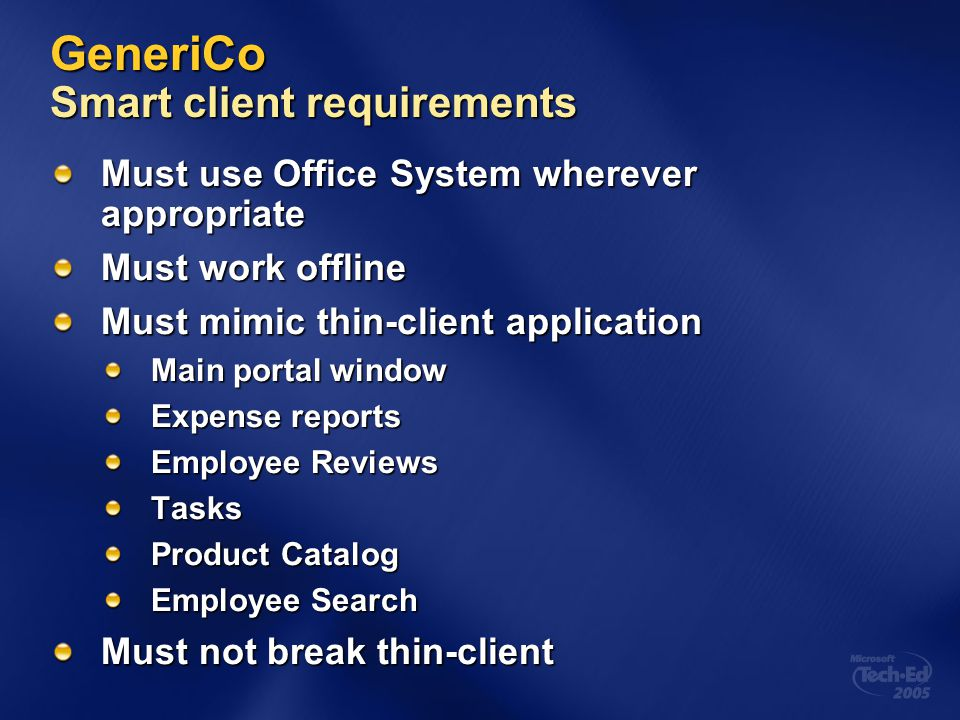 GeneriCo Smart client requirements