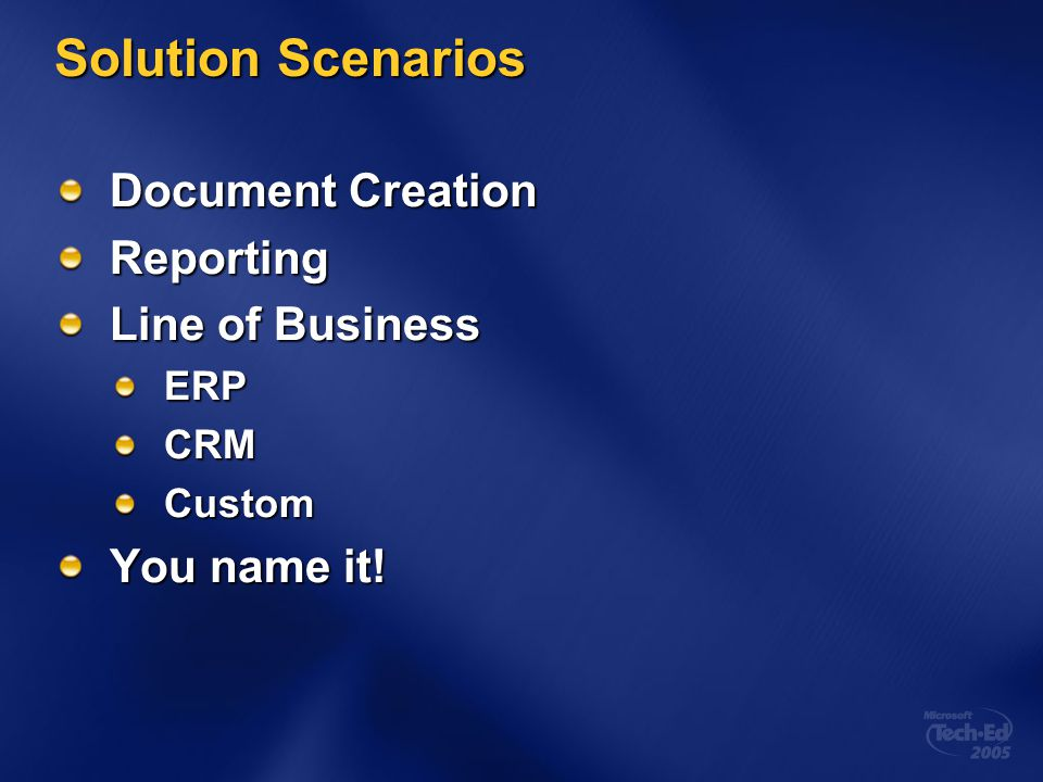 Solution Scenarios Document Creation Reporting Line of Business