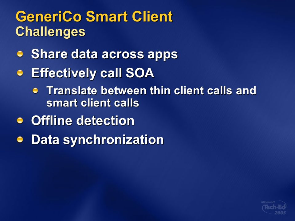 GeneriCo Smart Client Challenges