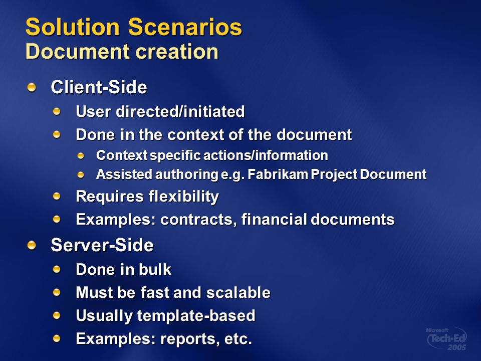 Solution Scenarios Document creation
