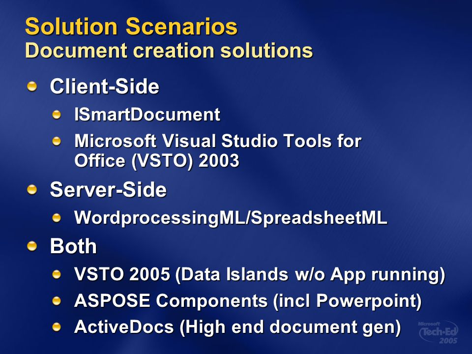 Solution Scenarios Document creation solutions