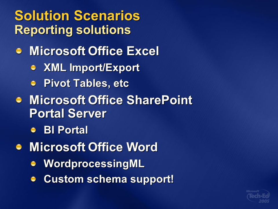 Solution Scenarios Reporting solutions
