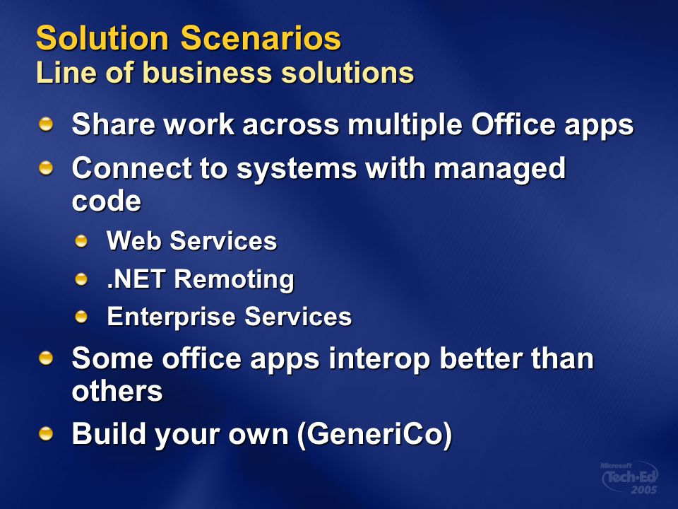 Solution Scenarios Line of business solutions