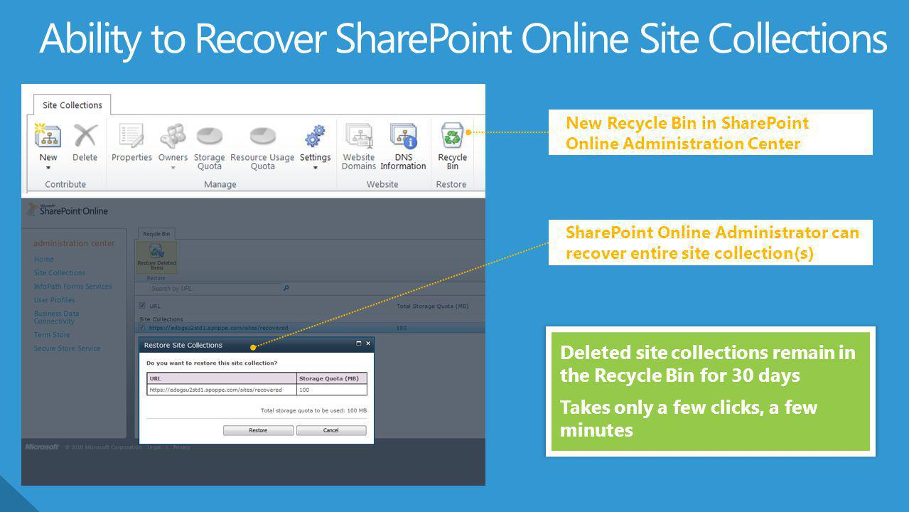 Ability to Recover SharePoint Online Site Collections
