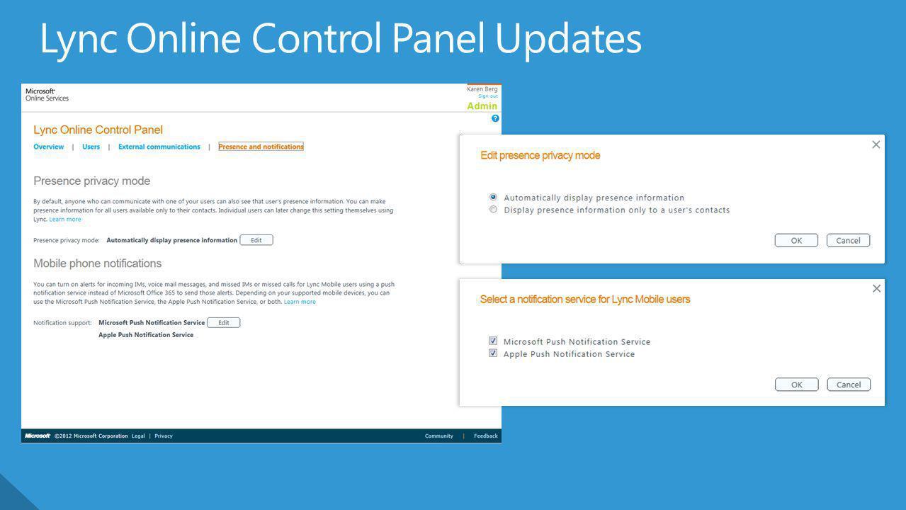 Lync Online Control Panel Updates