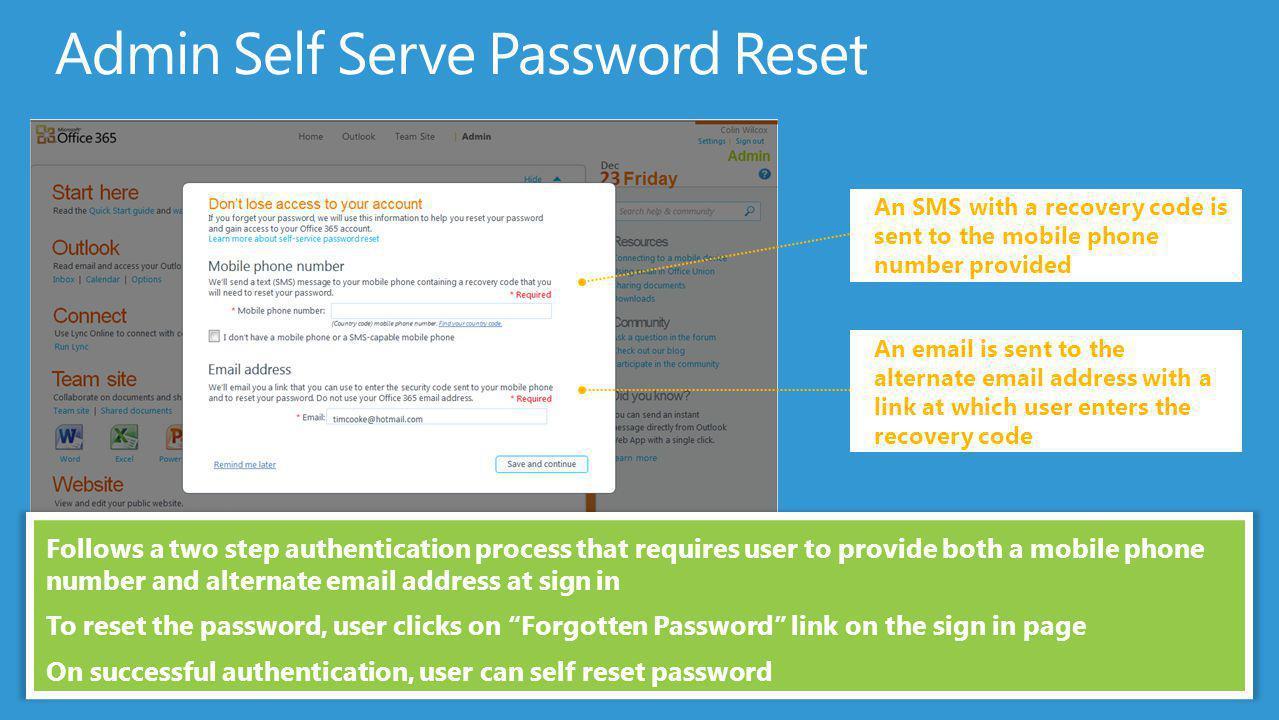 Admin Self Serve Password Reset