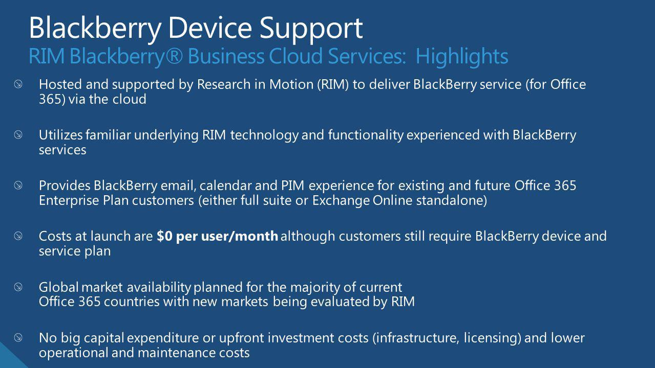 Blackberry Device Support RIM Blackberry® Business Cloud Services: Highlights