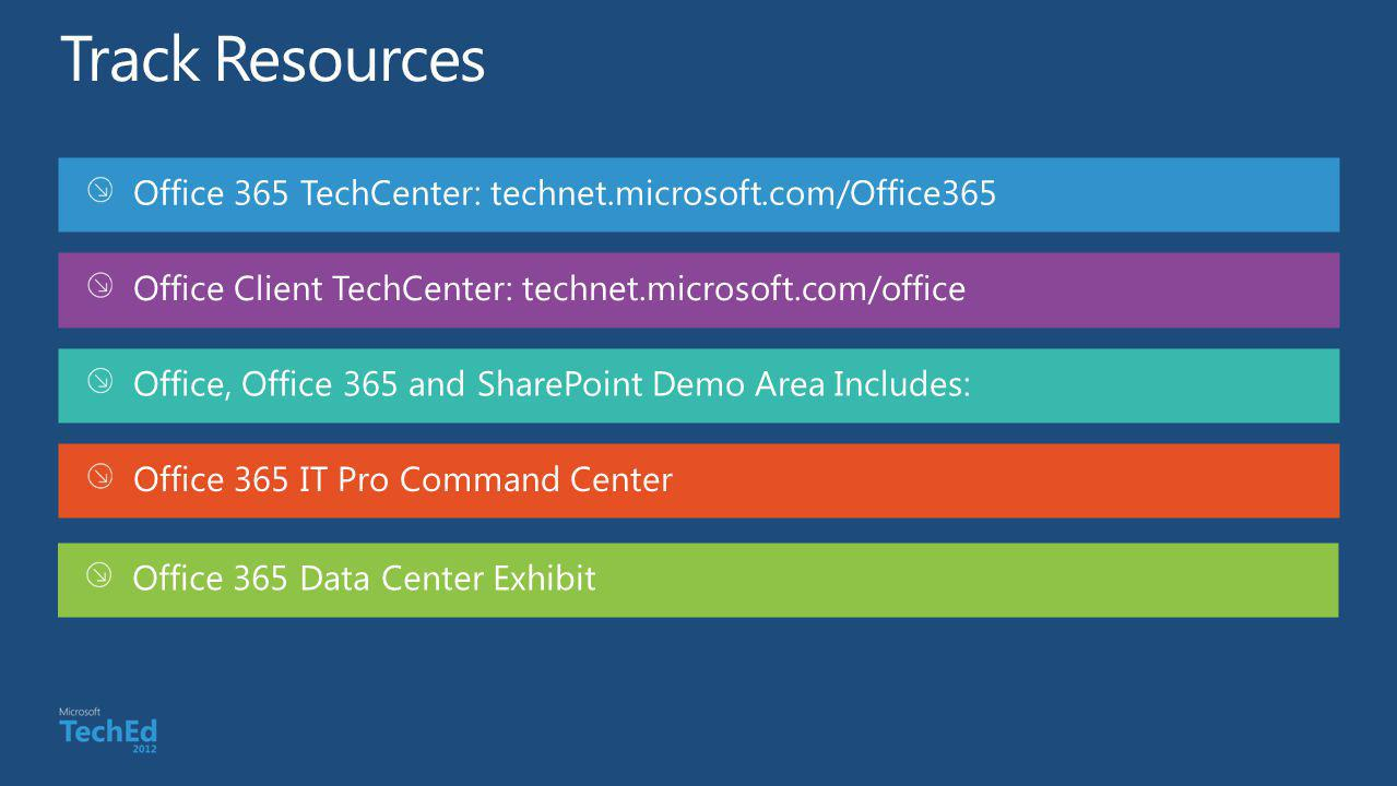 Track Resources Office 365 TechCenter: technet.microsoft.com/Office365