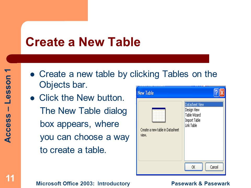 Create a New Table Create a new table by clicking Tables on the Objects bar. Click the New button.