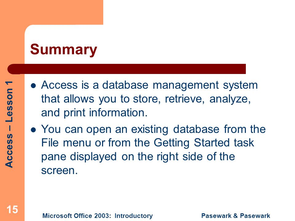 Summary Access is a database management system that allows you to store, retrieve, analyze, and print information.