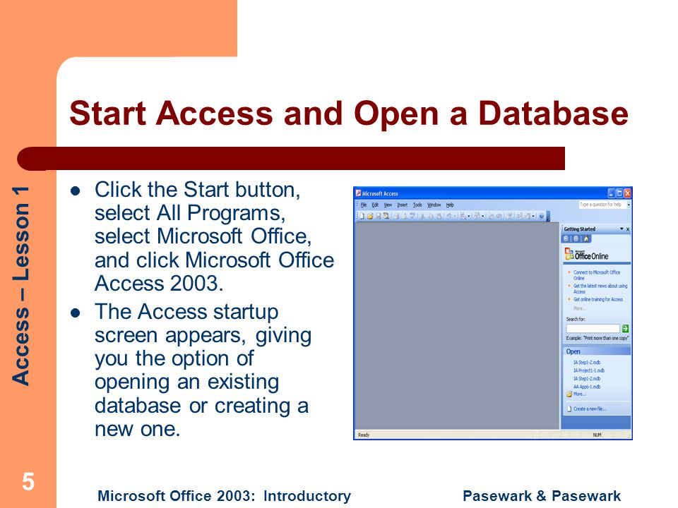 Start Access and Open a Database