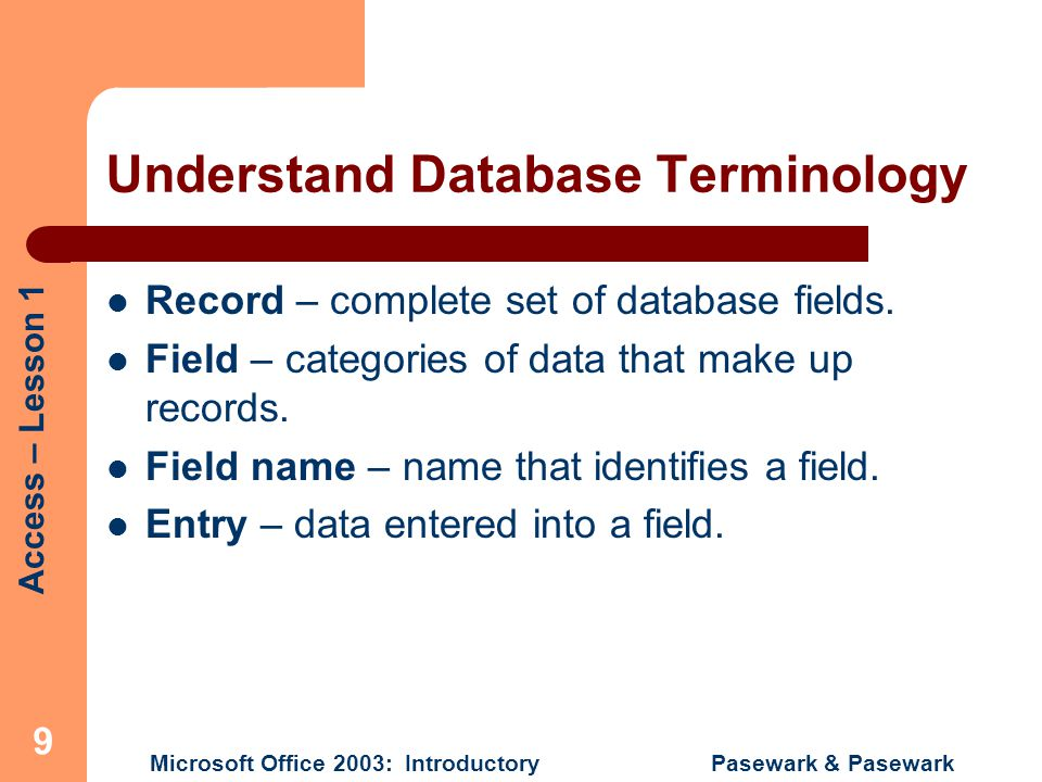 Understand Database Terminology