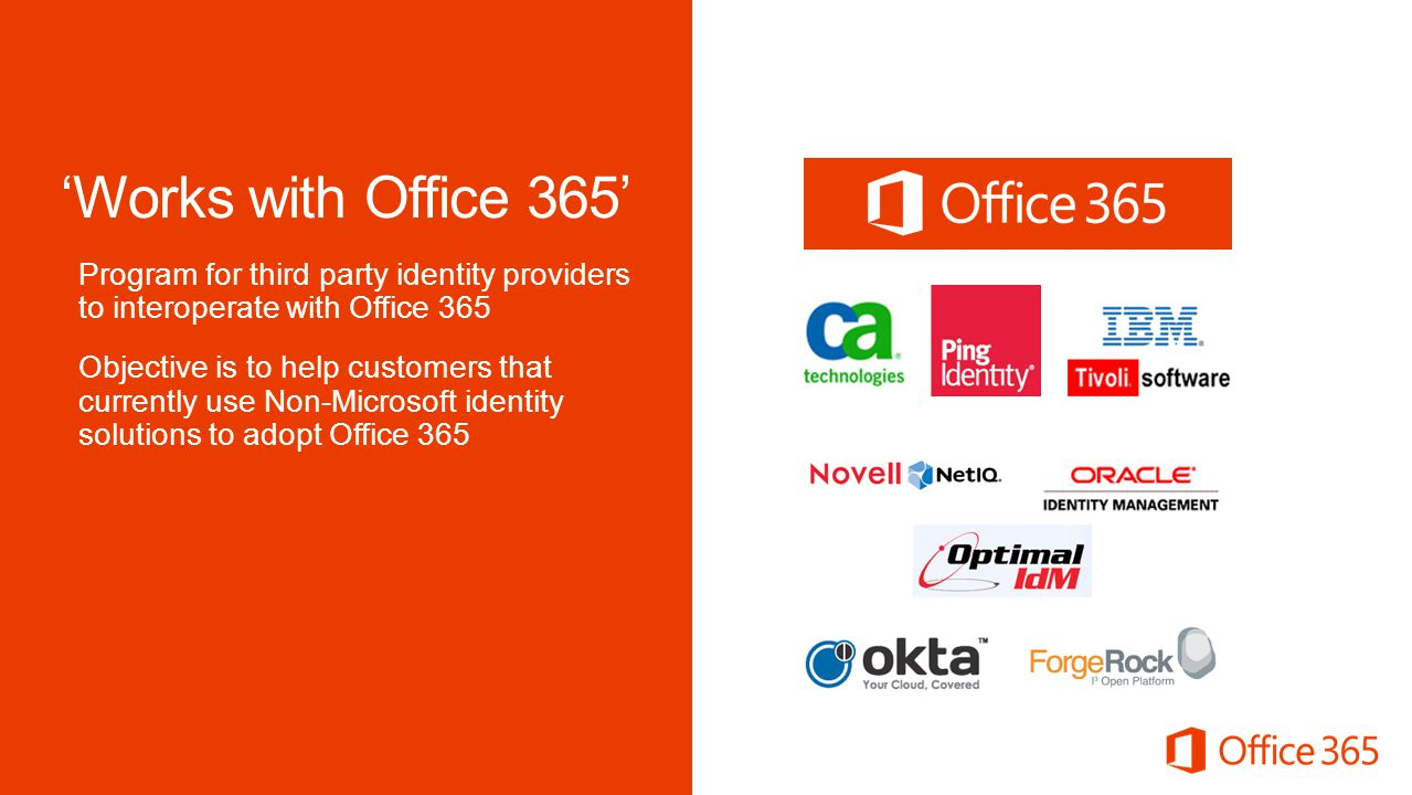 Microsoft Office 4/2/2017. 'Works with Office 365' Program for third party identity providers to interoperate with Office 365.