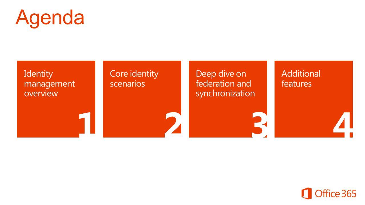 1 2 3 4 Agenda Identity management overview Core identity scenarios