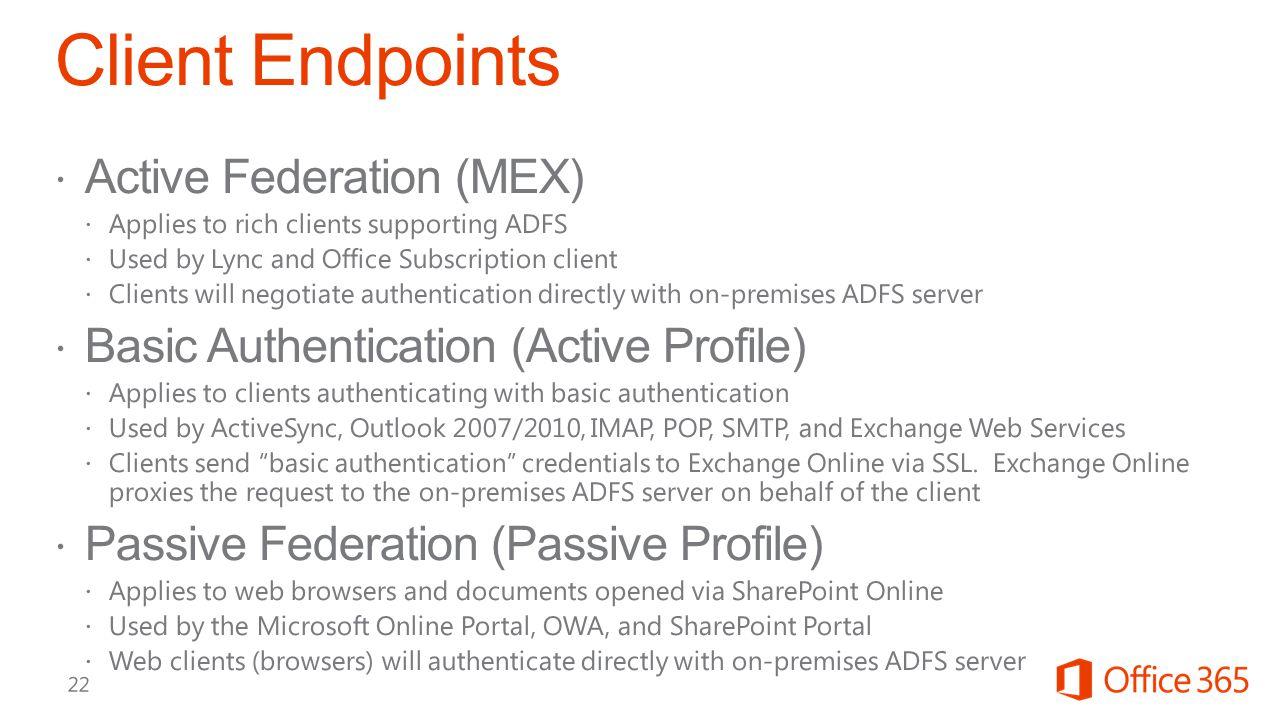 Client Endpoints Active Federation (MEX)