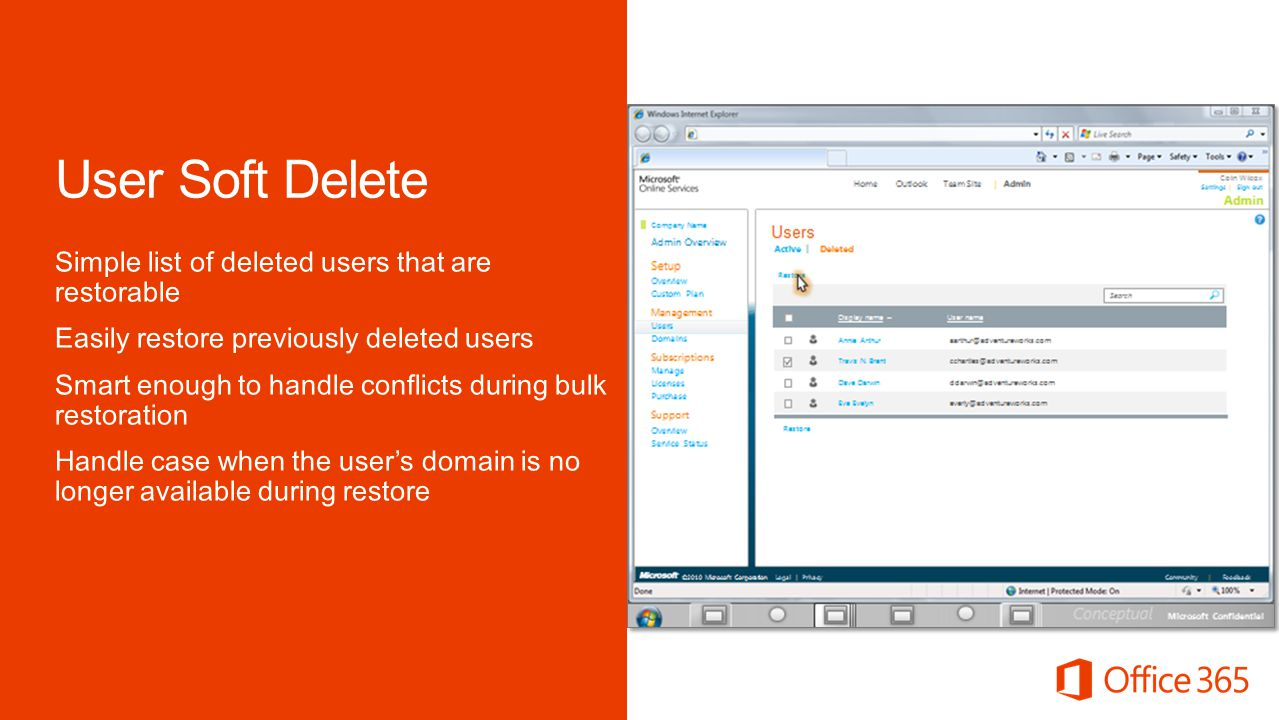 Microsoft Office 4/2/2017. User Soft Delete.