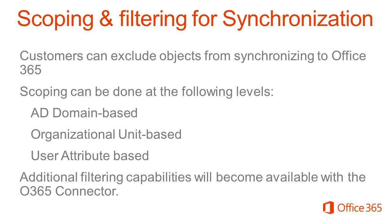 Scoping & filtering for Synchronization