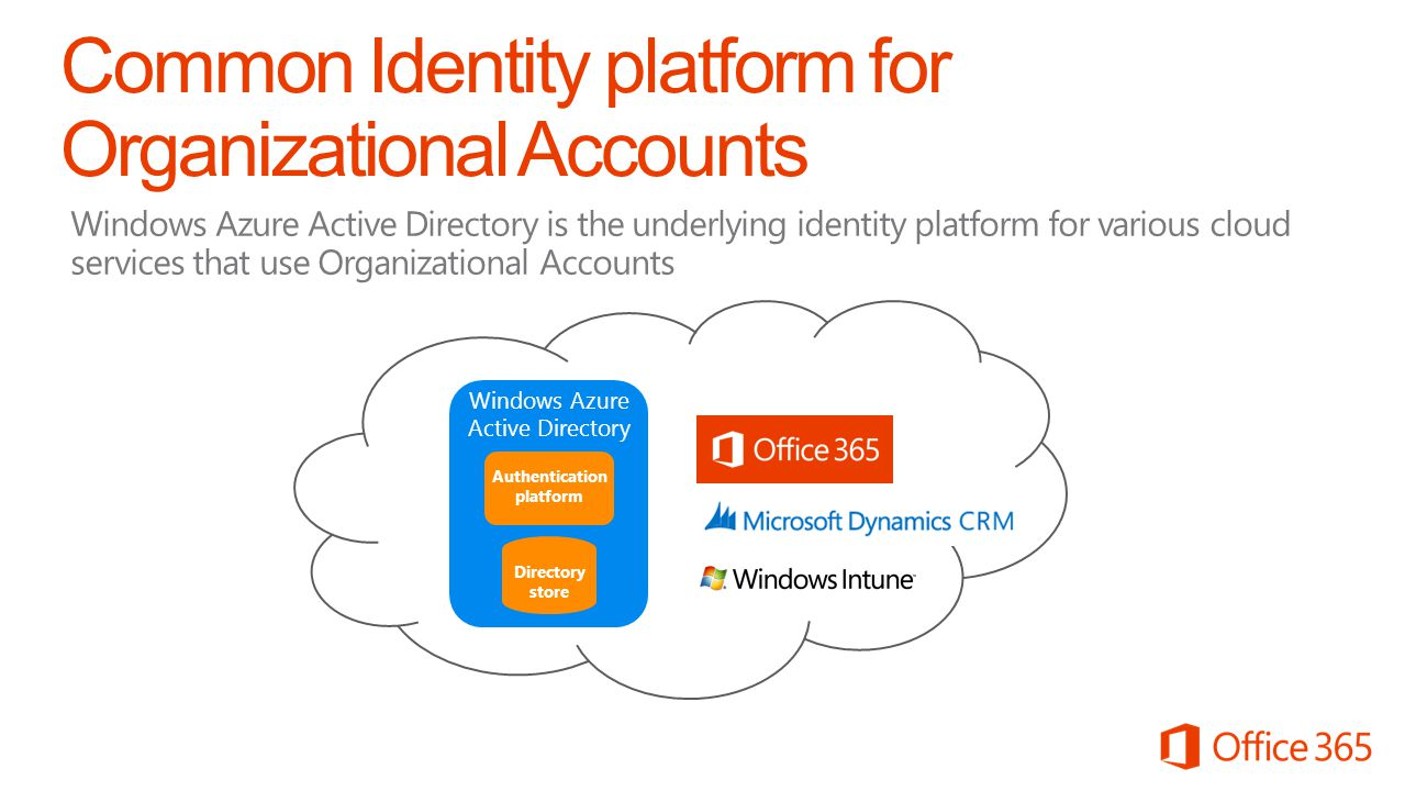 Common Identity platform for Organizational Accounts