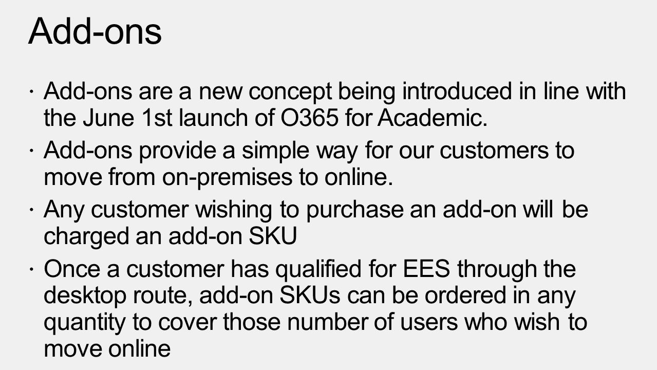 Add-ons Add-ons are a new concept being introduced in line with the June 1st launch of O365 for Academic.