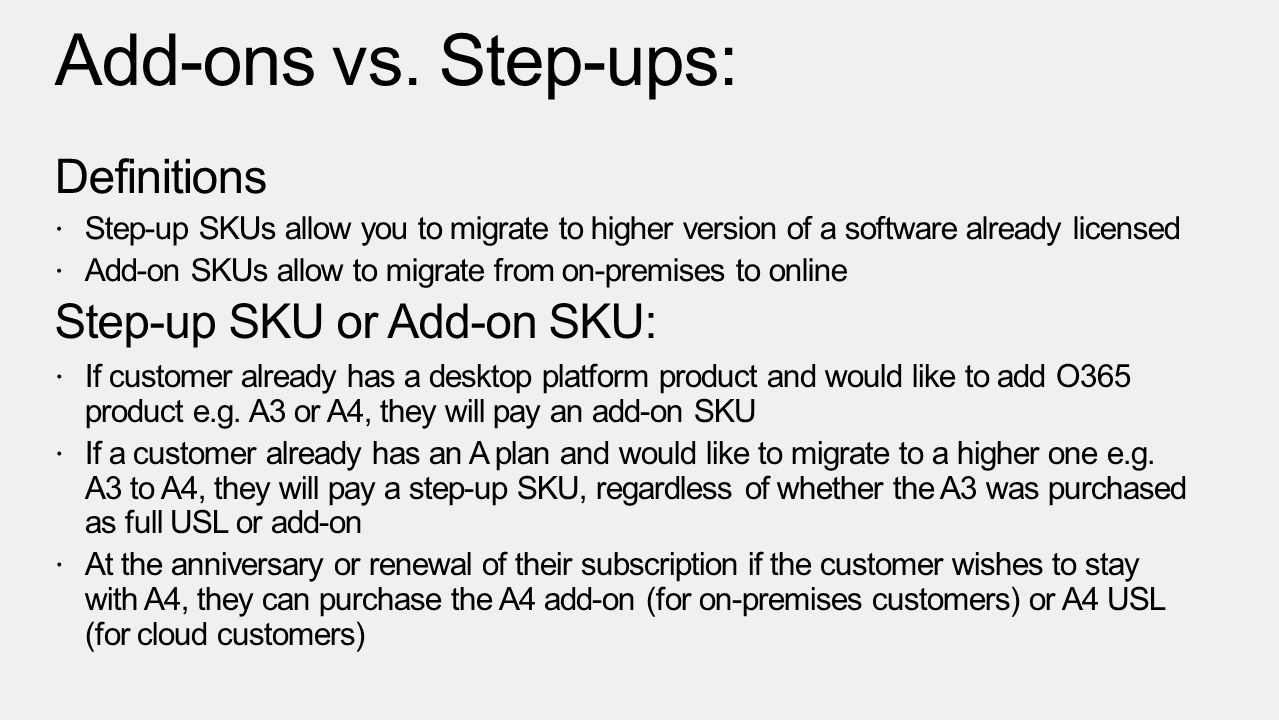 Add-ons vs. Step-ups: Definitions Step-up SKU or Add-on SKU:
