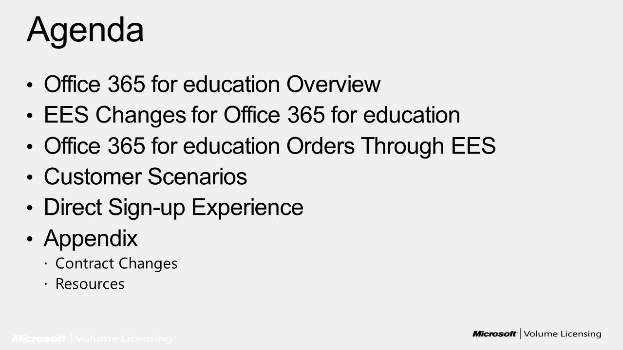 Agenda Office 365 for education Overview