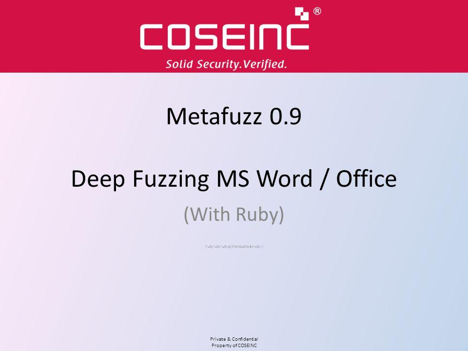 Metafuzz 0.9 Deep Fuzzing MS Word / Office