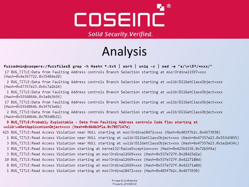 Analysis fuzzadmin@coopers:/fuzzfiles$ grep -h Hash= *.txt | sort | uniq -c | sed -e s/\+\S*/+xxx/