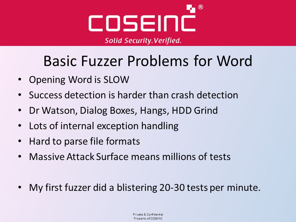 Basic Fuzzer Problems for Word