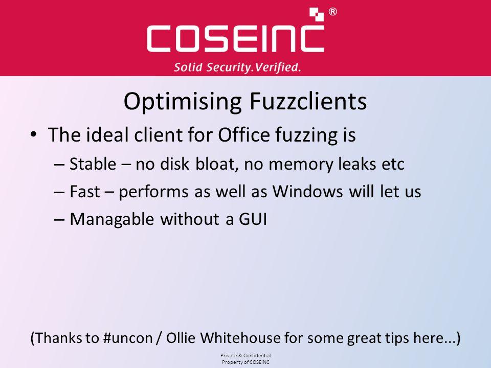Optimising Fuzzclients