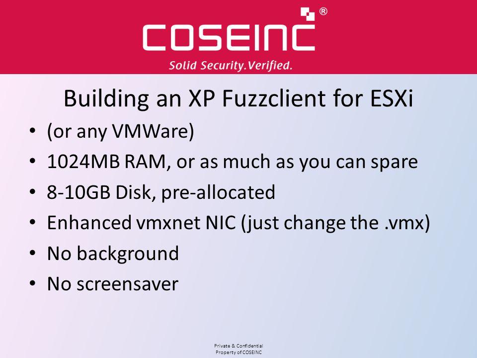 Building an XP Fuzzclient for ESXi