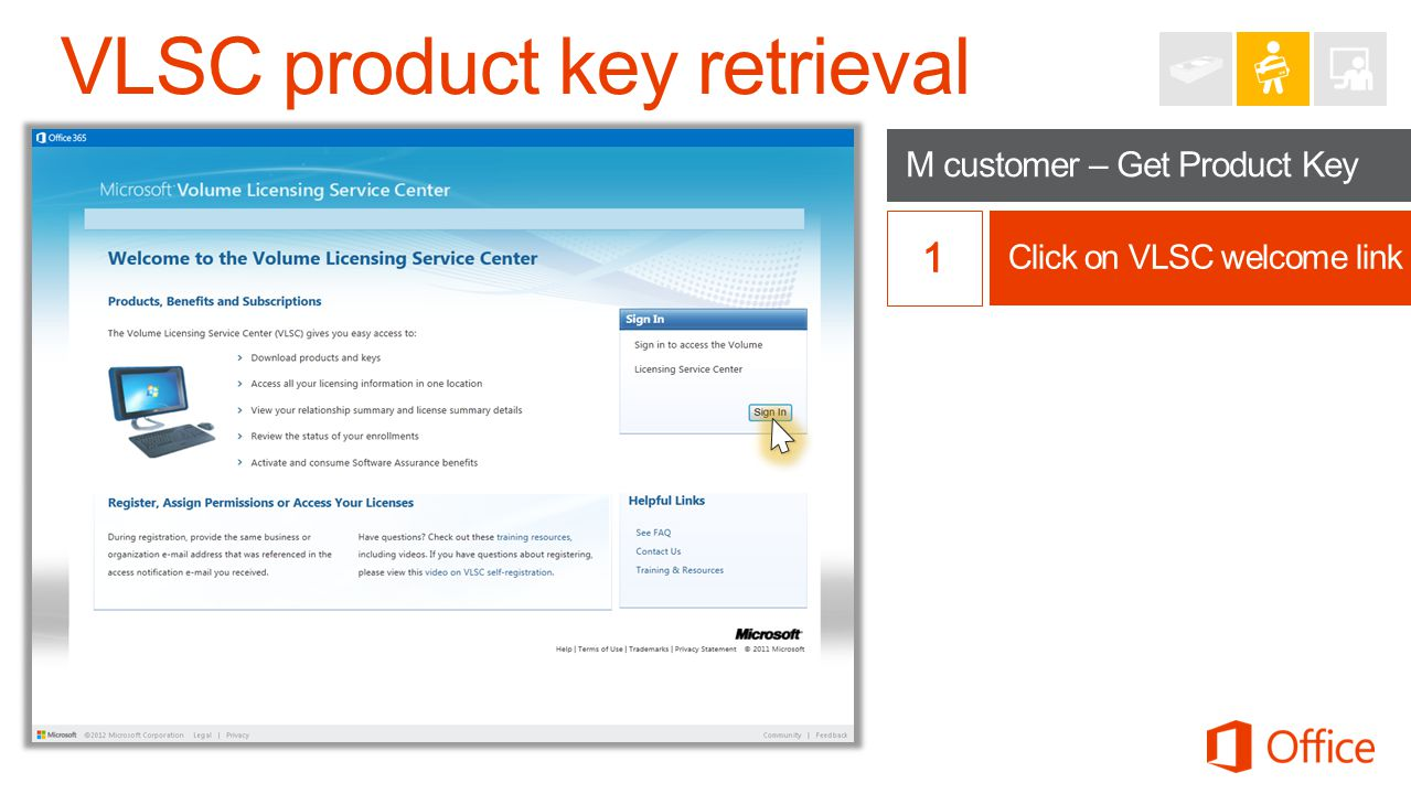 VLSC product key retrieval