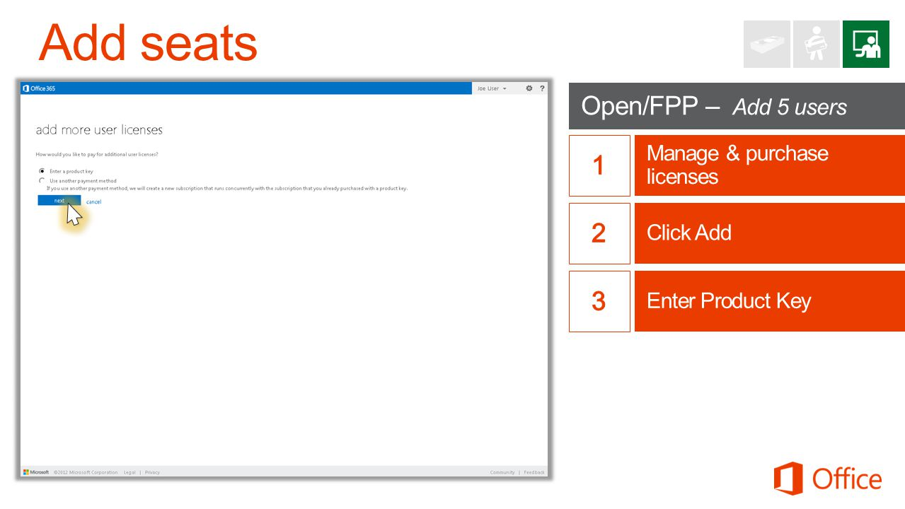 Add seats Open/FPP – Add 5 users 1 2 3 Manage & purchase licenses