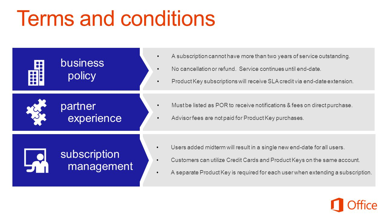 Terms and conditions business policy partner experience