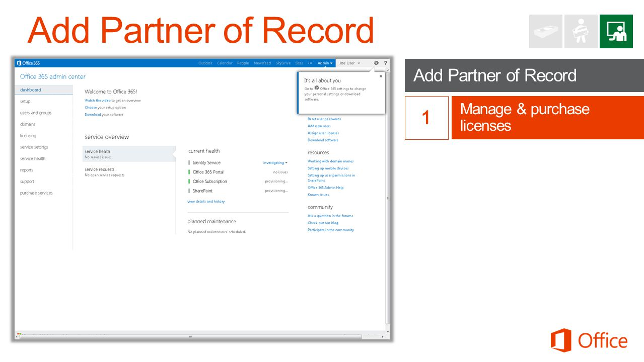 Add Partner of Record 1 Add Partner of Record Manage & purchase