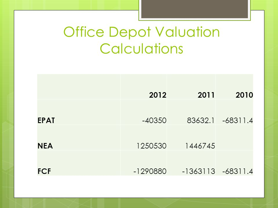 Office Depot Valuation Calculations
