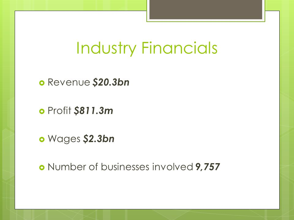 Industry Financials Revenue $20.3bn Profit $811.3m Wages $2.3bn