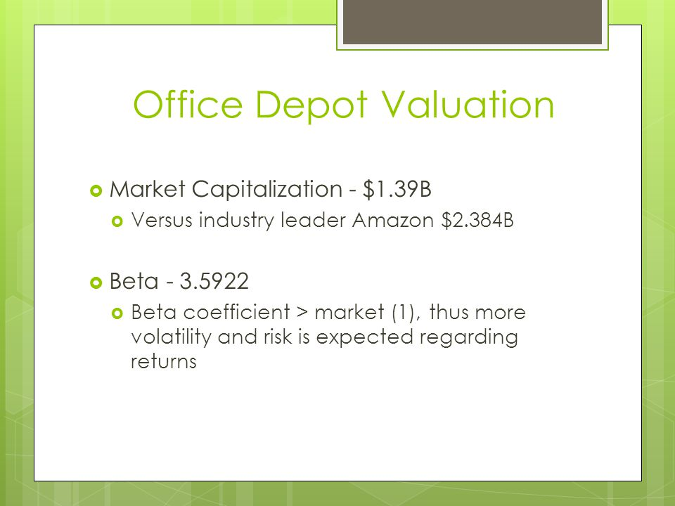 Office Depot Valuation
