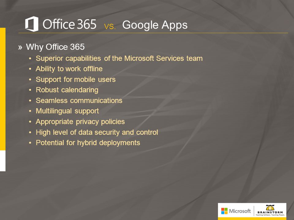 Google Apps Why Office 365 VS.