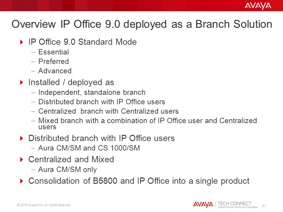 Overview IP Office 9.0 deployed as a Branch Solution