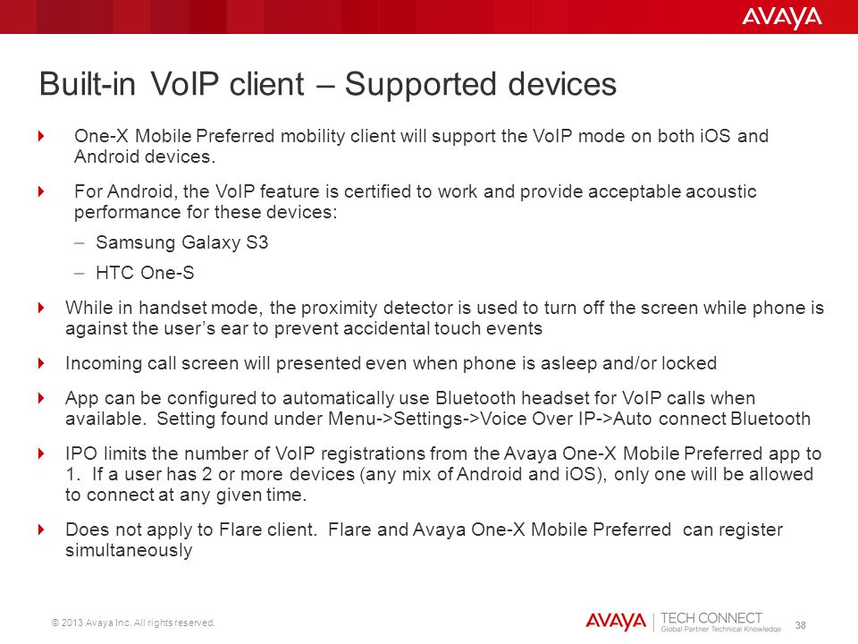 Built-in VoIP client – Supported devices