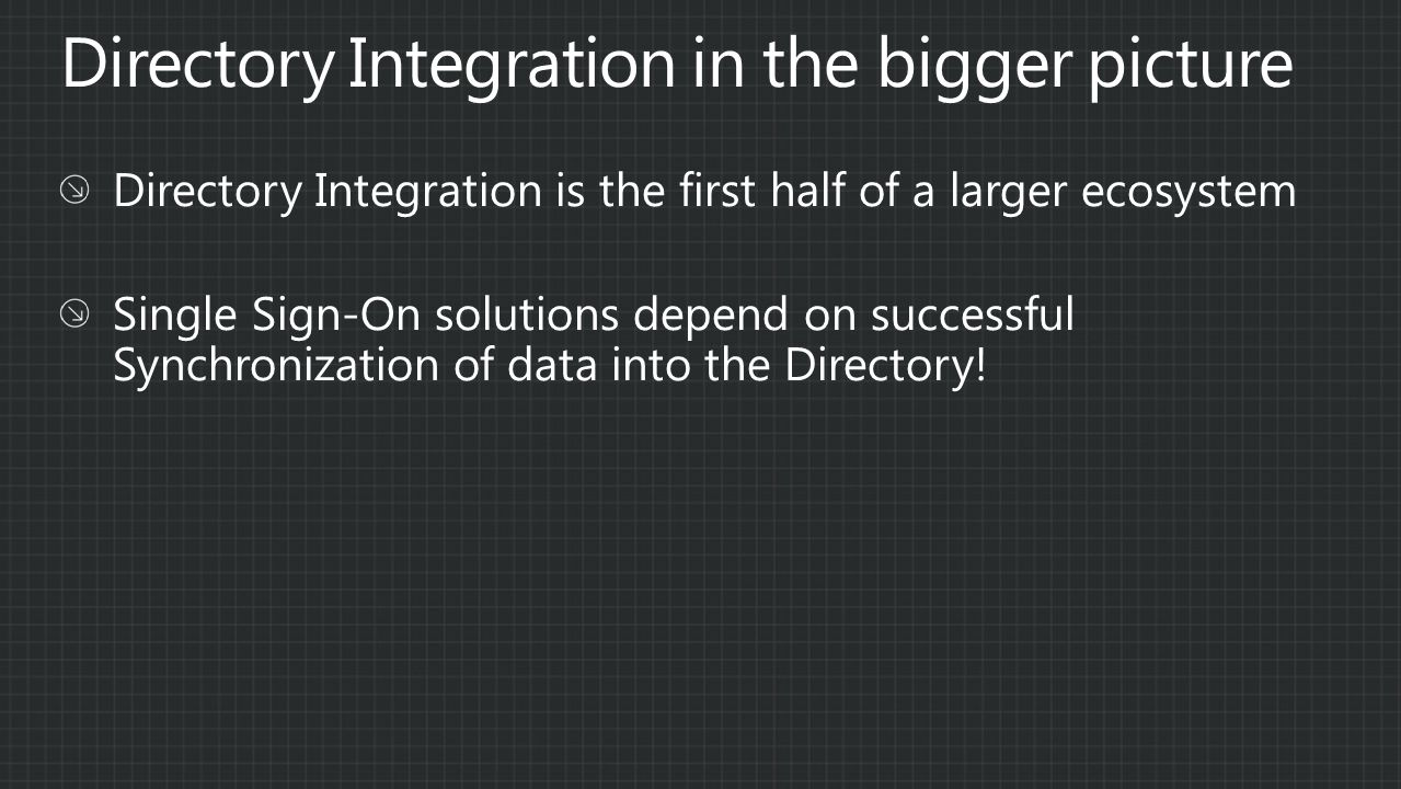 Directory Integration in the bigger picture
