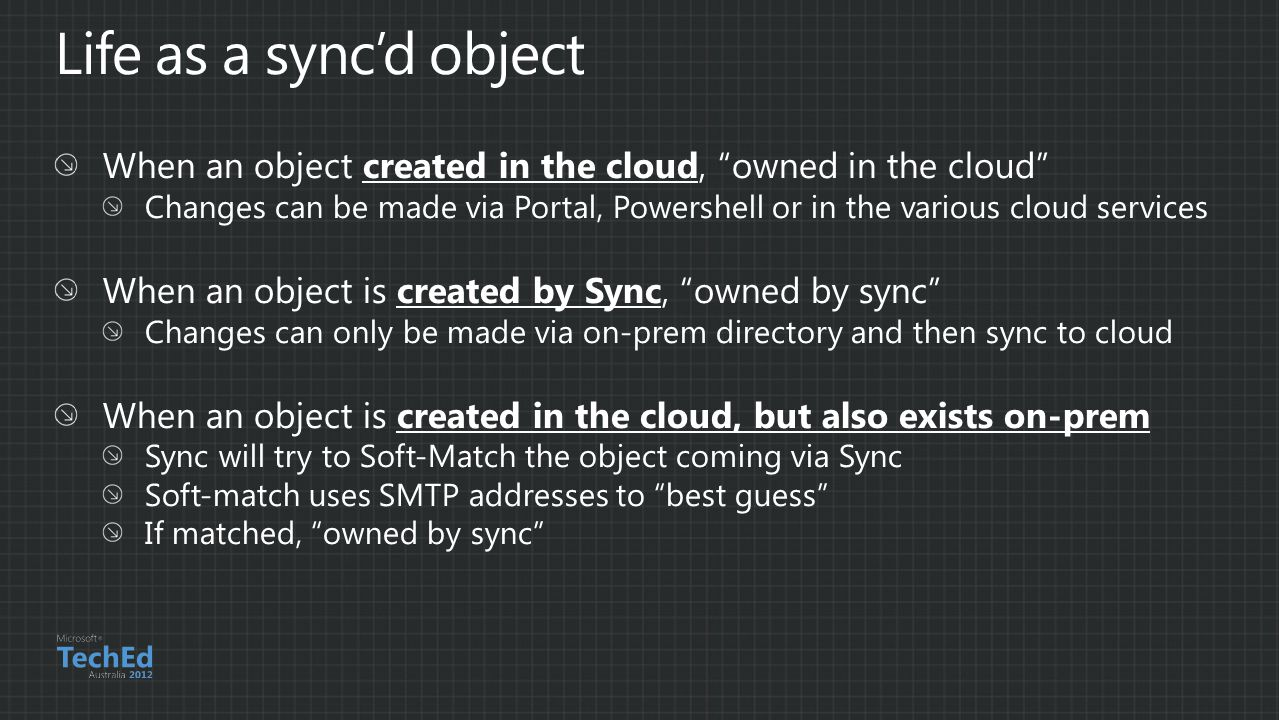 Life as a sync'd object When an object created in the cloud, owned in the cloud