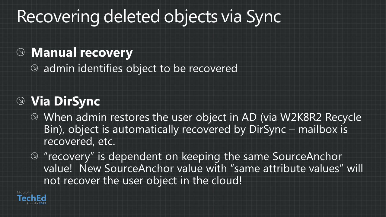 Recovering deleted objects via Sync
